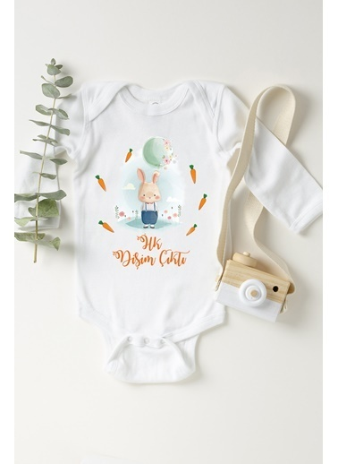 Happy Onesie Co Dişim Çıktı Uzun Kol Çıtçıtlı Bebek Body Beyaz